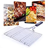 BBQ Grill Basket, Stainless Steel Kabob Grilling Basket with Removable Handle, Portable Outdoor Grill Accessories for Vegetable, Meat, Shrimp, Fish, Steak with Basting Brush and Carrying Pouch
