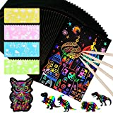 MEJOSER 60 Hojas de Scratch Paper Papel para Rascar con 6 Lápices y 4 Plantillas Dibujos Magicos Juego de Dibujar Niños Manualidades Escribir