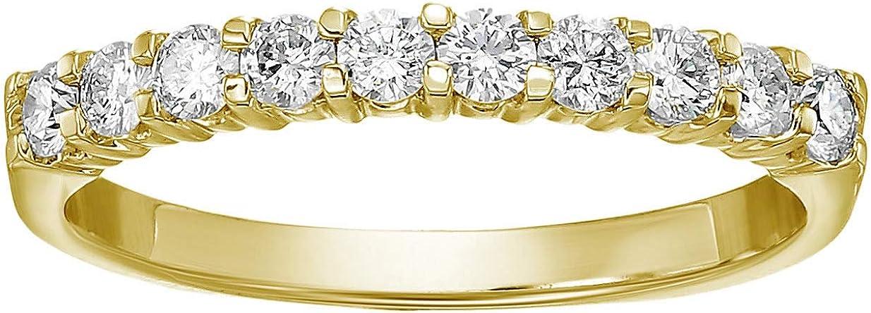 Vir Jewels 1/2 cttw Certified SI2-I1 Diamond Wedding Band 14K Yellow Gold Prong