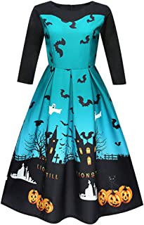ForgetMe Womens Ladies Long Sleeve Halloween Skater Swing Dress Top New Christmas Dress Women s Long Sleeve Dresses Neck Printing Knee-Length Vintage Gown Evening Party Prom Dresses