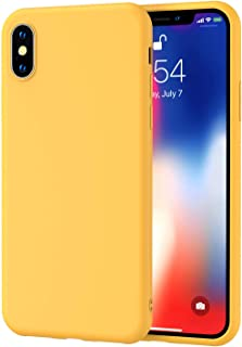 Loxxo® iPhone Xs Max Cover Wireless Charging Support, Liquid Silicone Gel Rubber Shockproof Case Candy Phone Cases for Apple iPhone Xs Max (Yellow Candy)