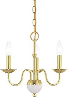 Livex 52163-02 Transitional Three Light Mini Chandelier from Windsor Collection Finish, Polished Brass