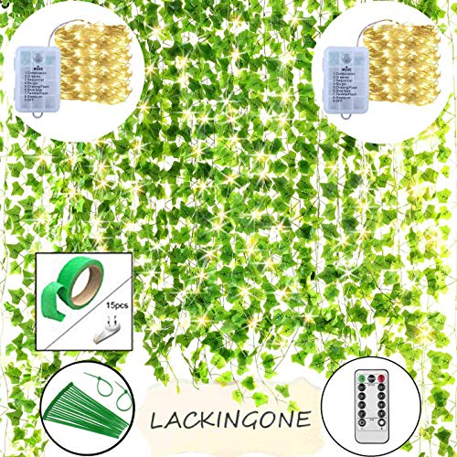 LACKINGONE 84Ft 12 Pack Artificial Ivy Fake Plants with 200 LED String Lights, Vine Leaves Hanging Faux Garland, Wall Wedding Decoration