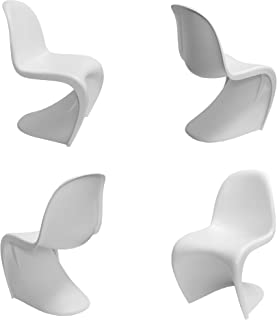 Mod Made S Shape Chair Mid-Century Modern 4-Pack, White