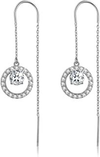 18K Gold Plating 925 Sterling Silver Cubic Zirconia Drop Earrings Hollow Love Heart/Circle CZ Hypoallergenic Earrings for Women and Girls
