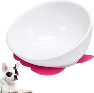 JYHY Bulldog Bowl Ceramic Dog Food Bowl - Dog Cat Dish Wide Mouth Dog Bowl Pet Sterile Tilted Pet Feeder with Anti-Skid Rubber Mat