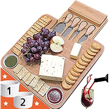Unique gifts for Mom, Mothers, Women, Men Housewarming, Wedding, Birthday, Bamboo Cheese Board w/Cutlery Set, Wood Charcuterie Platter & Meat Server, 4 Stainless Steel Knife, 2 Bowl, Slide-Out Drawer