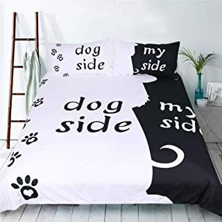 FEYART Dog Side My Side Duvet Cover Set, 3-Pieces Dog Lovers Bedding Set in Black and White, Twin Full Queen King Size for Children Adult