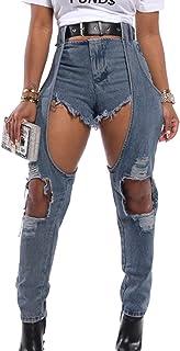 SOMTHRON Women's Summer Spaghetti Strap Bra Lace-up V Neck Slim Skinny Denim Dress Sexy A Line Bodycon Club Mini Dress