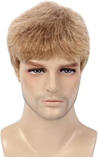 H&B WIG Men Wigs Short Blonde Hair Layered Male Guy Natural Synthetic Full Wig Daily Costume Party (Blond)