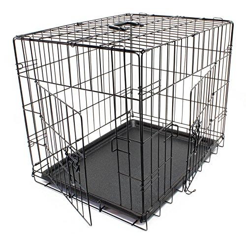 Wiltec Klappbarer Transportkäfig Kennel aus Draht für Kleintiere Gittertransportbox Größe XS