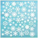 """72 Snowflake Window Cling Christmas Decorations, 2' & 4"""" Snowflakes, Reusable White Snowflake Window clings/Snowflake Window Decals. 48 x 2 +24 x 4"""" Snow Flake Window Cling/Decal Holiday décor."""