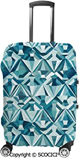 Travel Suitcase Protector Case elastic sleeve Cover/Abstract Polygonal Diamond Forms Up and Glamour Concept Tile/Travel Suitcase Protector Case elastic sleeve Cover