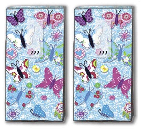 20 Taschentücher (2x 10) Handmade Butterflies – Handgemachte Schmetterlinge / Frühling / Motivtaschentücher