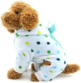 Ranphy Cute Small Dog Fleece Pajamas Dots Puppy Outfits Hoodies Soft Cozy Pjs Four-Leg Pet Jumpsuit Lovely Chihuahua Clothes