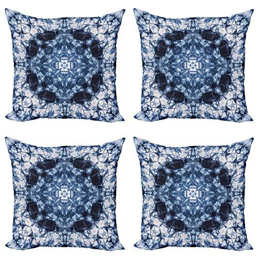 ABAKUHAUS Indigo Paisley Set de 4 Fundas para Cojín, El teñido Anudado del Hippie Arte, Estampado Digital en Ambos Lados y Cremallera, 45 cm x 45 cm, Real Azul Blanco