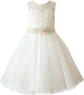 Ivory Lace Tulle Wedding Flower Girl Dress Toddler Girl Dress