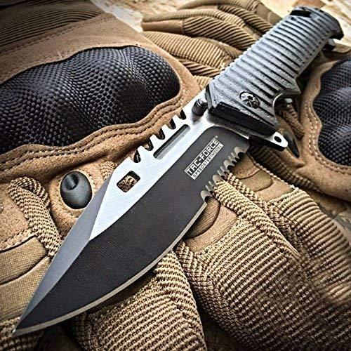 """TAC FORCE SAWBACK BOWIE cuchillo de bolsillo para llevar consigo todos los días, para rescate táctico, con apertura con resorte, de 9""""."""