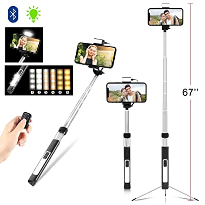 Aokin Bluetooth Selfie Stick, 67'' Adjustable S...