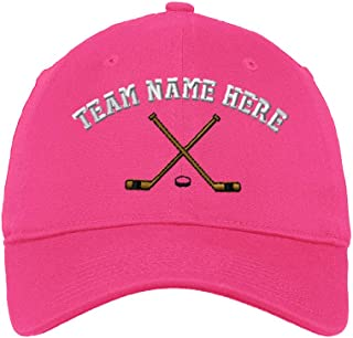 Custom Low Profile Soft Hat Hockey Sticks Embroidery Team Name Cotton Dad Hat