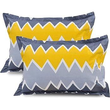 Trendz Home Furnishing Cotton 105 TC Pillow Cover (Yellow_King)