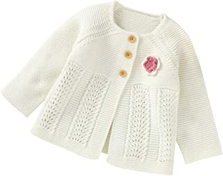 Infant Toddler Baby Girls Cardigan Sweater Cable Knit Long Sleeve Sweaters Tops Fall Winter Outwear Warm Clothes
