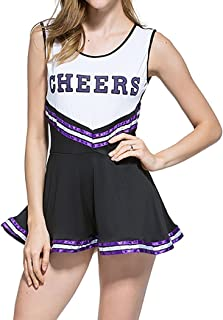 Ladies Sexy Varsity High School Cheer Girl Sexy Cheerleader Costume Uniform Halloween Fancy Dress Costume