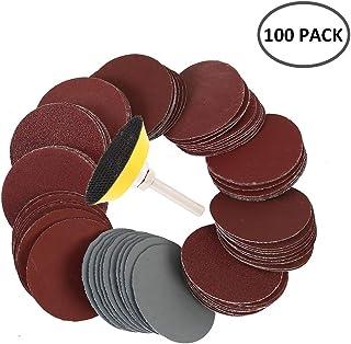 100枚入 サンディングディスク サンドペーパー 50mm 穴なし ディスク付き 丸型 サンディングディスク 紙やすり 金属 木工 研磨用(#80・100・180・240・600・800・1000・1200・2000・3000#各10枚)