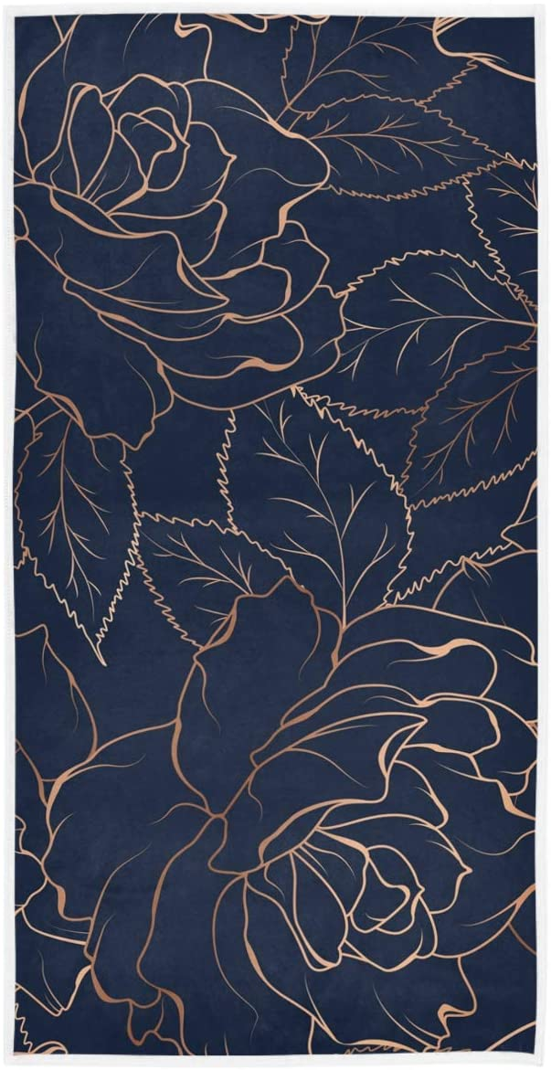 AGONA Navy Blue Gold Rose Peony Hand Surprise price Soft Towel excellence Abs Ultra Floral