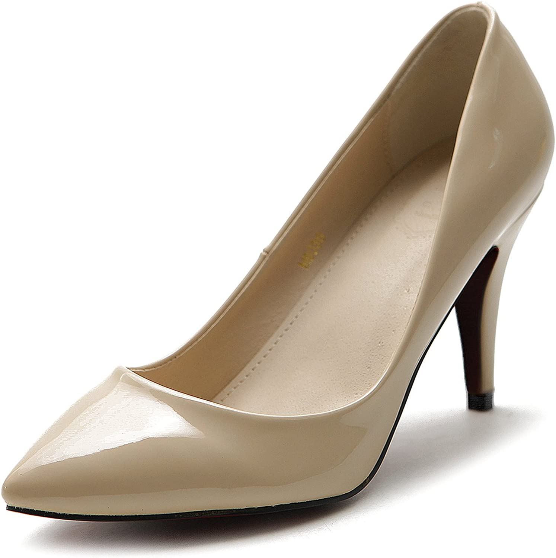 Ollio Women's shoes Stiletto High Heel Enamel Pointed Toe Pump