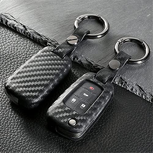 SENDIAYR Leder Schlüsseletui Halterung Schlüsselbund Tasche Schutzhülle Jacke Hautanhänger Schlüssel Shell,für Buick Fernbedienung 3 4 5 Tasten Schlüssel Kohlefasermuster