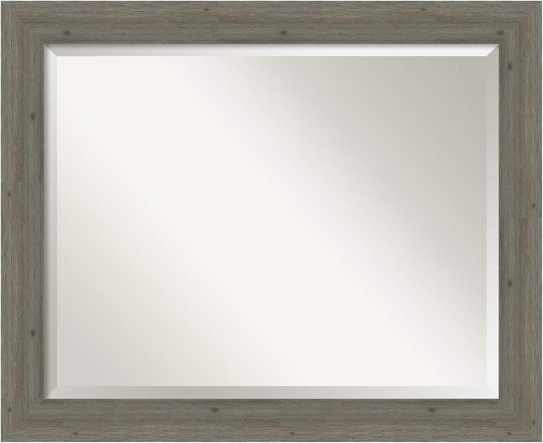 Amanti Art Fencepost Bathroom Vanity Mirror, 33 x 27, Grey