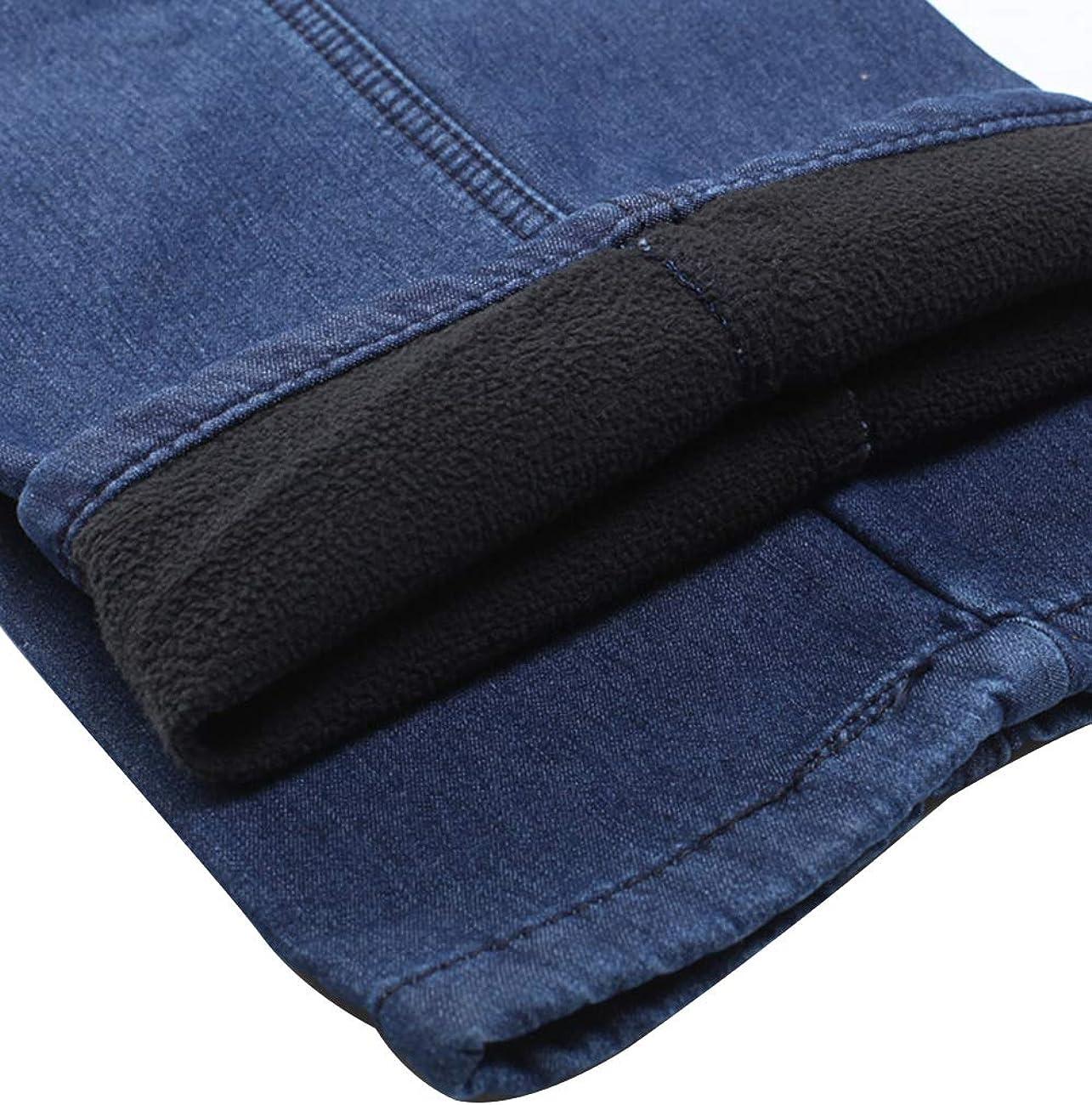 Zoulee Men's Full Elastic Waist Denim Pull On Jeans Straight Trousers Pants