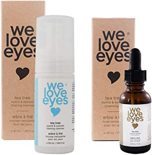 All Natural Tea Tree Eyelid Cleanser Kit (Cleansing Oil 30 ml & Foaming Cleanser 40 ml) - Moisturises, reduces inflammatio...