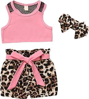 ملابس أطفال بنات بدون أكمام صدرية توب ليوبارد شورت أطفال بنات أزياء الصيف مجموعات الزي
