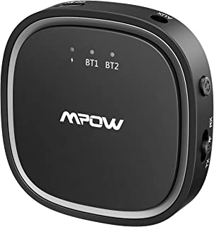 Mpow Bluetooth 5.0 Transmitter Receiver, 2 in 1 Bluetooth Audio Adapter, 3.5mm AUX/Low Latency/HD, for TV/Home Sound Syste...