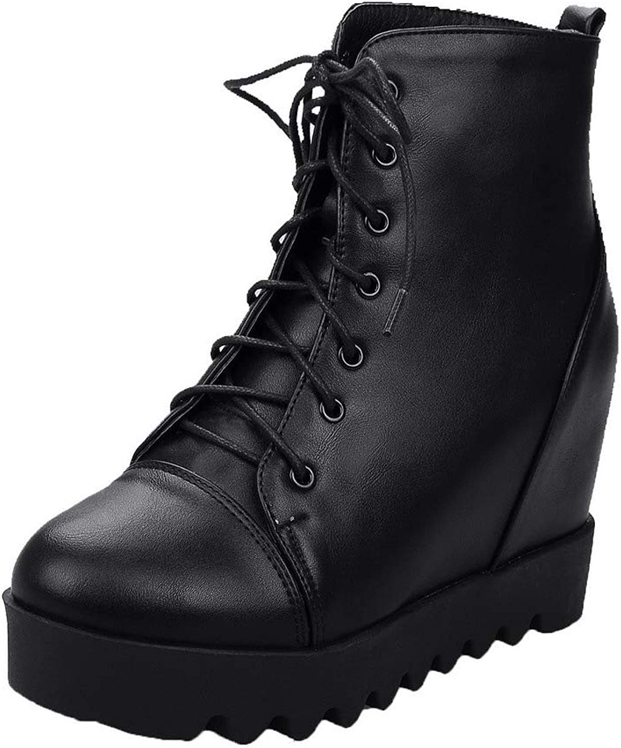 WeenFashion Women's High-Heels Pu Low-Top Solid Lace-Up Boots, AMGXX128070