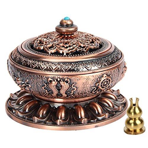 Kitchnexus - Quemador de incienso, aleación de cobre, loto tibetano, con soporte, para incienso en tipo cono y varilla