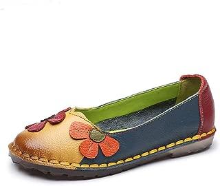 Surprise S Summer Flower Soft Bottom Design Round Toe Mix Color Flat Shoes Vintage Leather Women Flats Girl Loafer