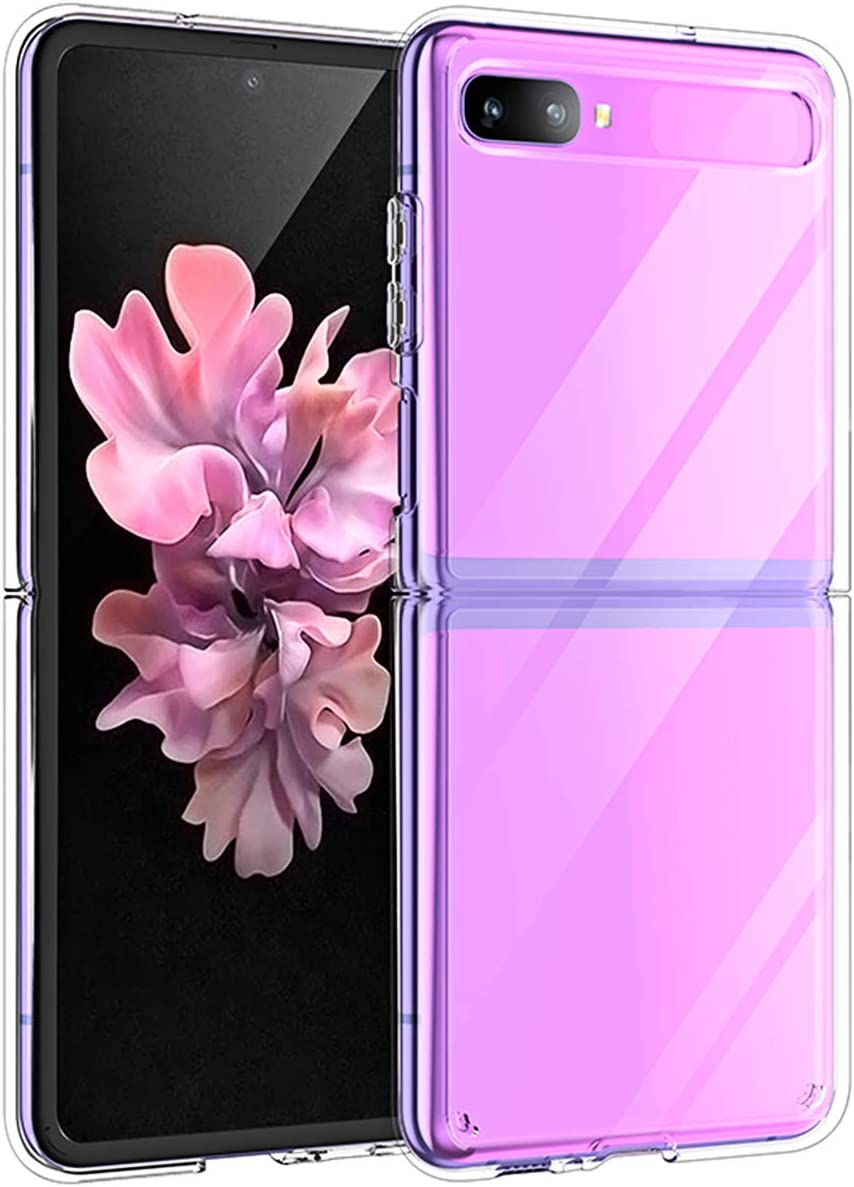 Newseego Compatible with Samsung Galaxy Z Flip Clear Case,Galaxy Z Flip 2020 Case [Slim Thin] Crystal Hard PC and Soft TPU Bumper Shockproof Anti-Scratch Transparent- Clear