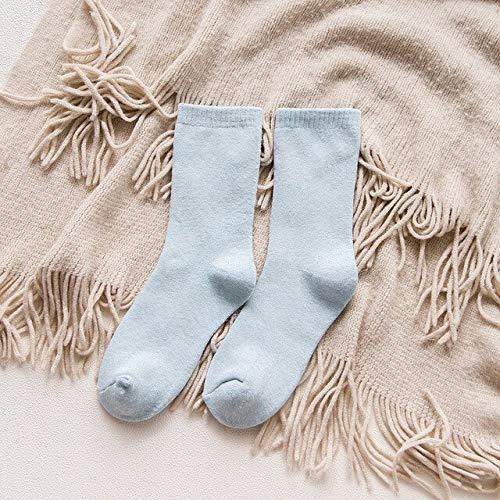 Heliansheng Süße Lange einfarbige Dicke Herbst- und Winterdamen aus Reiner Baumwolle, süße Drucksocken, Damenstrümpfe - StyleO 1Pair