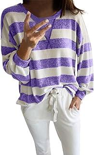 Camiseta Rayas Negras y Blancas Mujer Camisetas Sueltas Tallas Grandes Blusa Basica Otoño Invierno Ropa Casual Cómodo Tops...