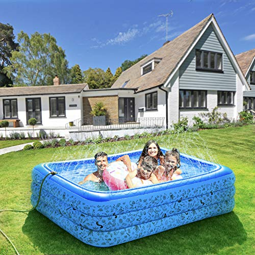 "AQCSS Inflatable Swimming Pool with Water Spray Function 87""x61""x24""Inflatable Kiddie Pools 0.4mm PVC Materials Multipurpose Family Lounge Pool for Babies,Adults,Outdoor Garden Backyard"