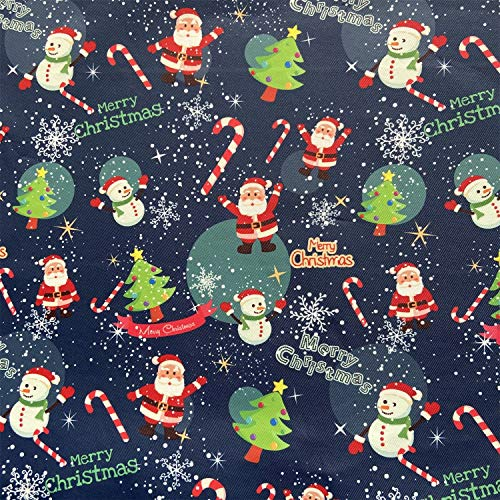 willikiva Printed Waterproof Christmas Fabric by The Yard for Sewing Quilting Fat Quarters Upholstery Indoor Outdoor 36'(91.44CM) x 57'(145CM)(Navy Blue Christmas)