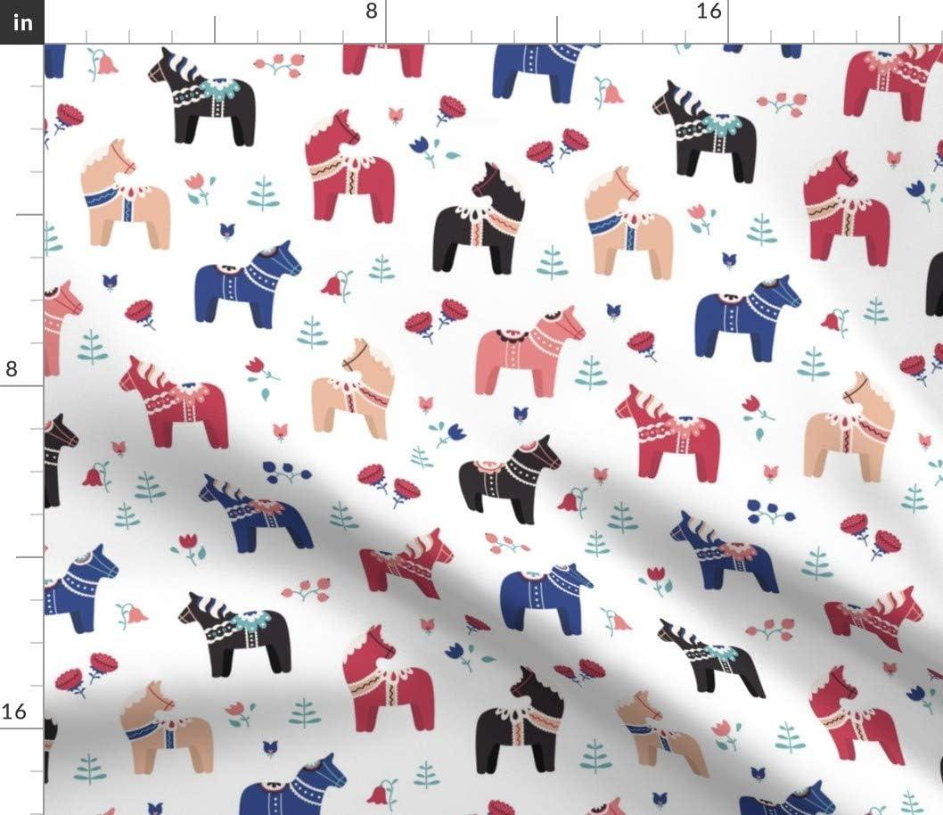 メーカー公式 Spoonflower Fabric - Dala 蔵 Horse Folk Nordic Red Blue Scandinavia