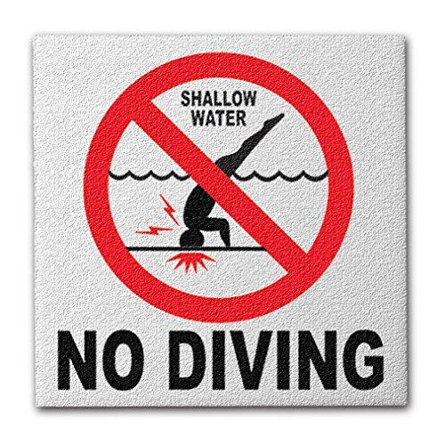 Aquatic Custom Tile Ceramic Swimming Pool International No Diving Symbol Deck Abrasive Non-Slip Finish