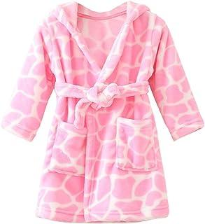 e1bc211a11771 ECHERY Unisexe Filles Garçons à Capuche Peignoir Doux Coral Fleece Pyjamas  Enfants Chemise de Nuit Robe