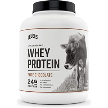 Levels 100% Grass Fed Whey Protein, No GMOs, Pure Chocolate, 5LB