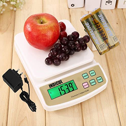 INDICUL SF 400A 10 KG Electronic Weight Machine for Kitchen Food Weight Scale for Home Kitchen Shop Small Portable kitchen scale weight machine White with Adapter