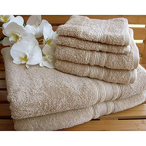 Charisma Plush Towels Bundle | Includes: 2 Luxury Bath Towels, Hand Towels & Washcloths | Quality, Ultra Soft Towel Set | 6 Pieces (Tan)